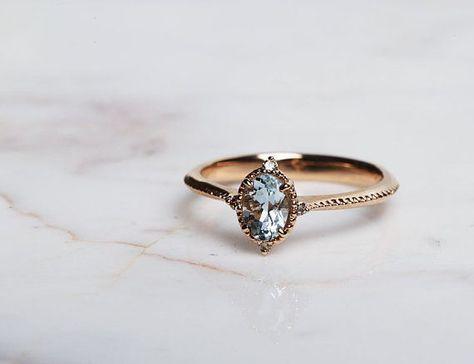 Vintage Engagement ring 1ct Aquamarine and cognac diamond bridal ring rose gold yellow gold wedding ring