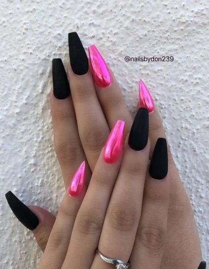 21 Trendy Nails Stiletto Pink Black Pink Nails Cute Acrylic Nails Gorgeous Nails