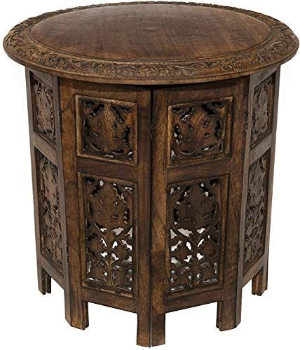 The Perfect Artesia Solid Wood Hand Carved Rajasthan Folding Accent Coffee Table 18 Inch Round Top Coffee Table Wood Antique Coffee Tables Antique End Tables