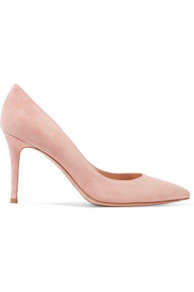 gianvito rossi pink suede pumps