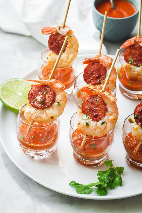 Shrimp and Chorizo Appetizers with Roasted Pepper Soup — These punchy and flavorful skewers are perfect as a party appetizer. : Shrimp and Chorizo Appetizers with Roasted Pepper Soup — These punchy and flavorful skewers are perfect as a party appetizer. Wedding Appetizers, Holiday Appetizers, Yummy Appetizers, Skewer Appetizers, Shot Glass Appetizers, Appetizer Ideas, Fancy Party Appetizers, Party Appetizer Recipes, Fancy Party Food