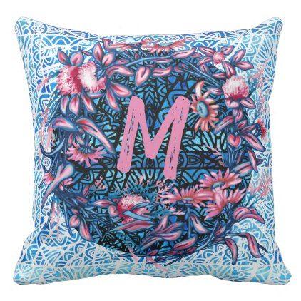 Floral Flower Wreath Plants Botanical Monogram Ini Throw Pillow