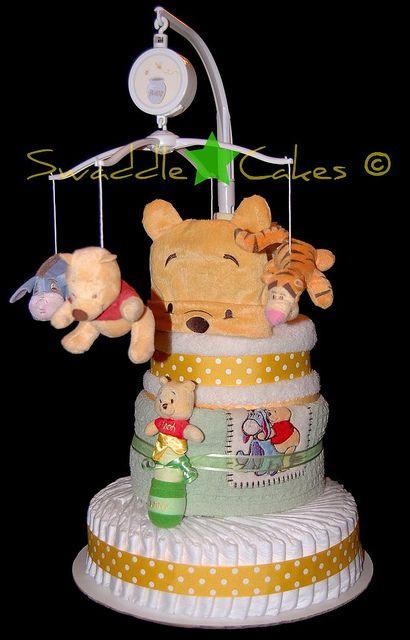 Precious Pooh Bear Diaper Cake by swaddlestar, via Flickr