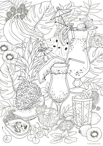 Fruit Cocktails Detailed Coloring Pages Printable Adult