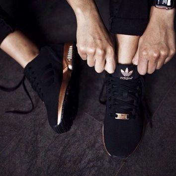 adidas zx flux black copper metallic gold