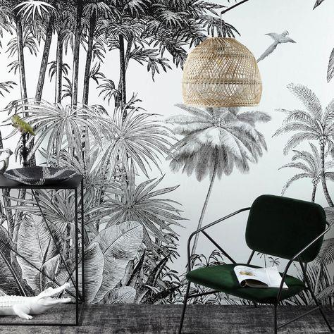 Papier Peint Imprime Jungle Noir Et Blanc 300x350 Sur Maisons Du Monde Piochez Parmi Nos Meubles E Papier Peint Papier Peint Intisse Papier Peint Panoramique