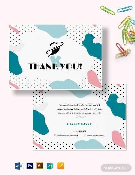 Fashion Business Thank You Card Template Free Pdf Word Psd Apple Pages Illustrator Publisher Thank You Card Template Business Thank You Cards Thank You Cards