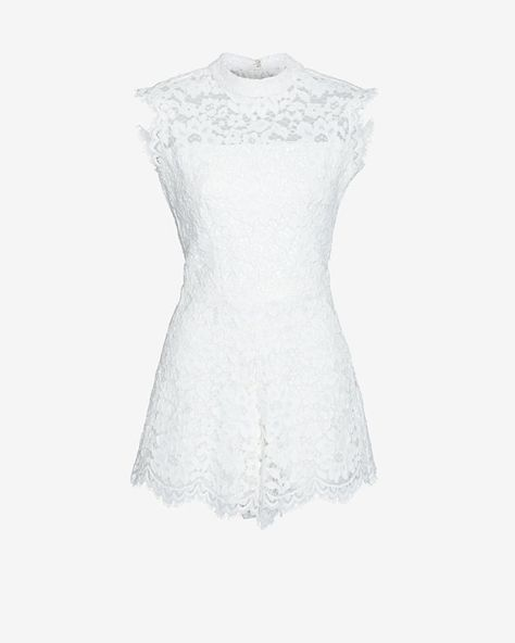Alexis EXCLUSIVE Sleeveless Lace Romper: White
