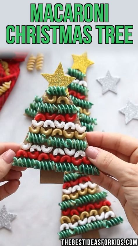 Christmas Tree Pasta and Macaroni Craft MACARONI CHRISTMAS TREE ORNAMENTS - made with macaroni and pasta noodles! Such a clever way to use up some old noodles and turn them into a Christmas ornament. Great for Preschool or Kindergarten classes to create.