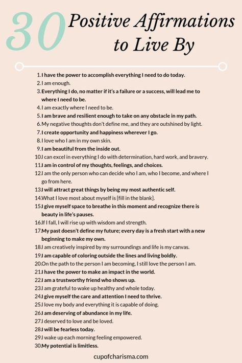 Positive Affirmations to Live By Printable Graphic Cup of Charisma