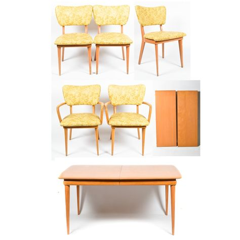 Mid Century Modern Heywood Wakefield Dining Table And Five Chairs