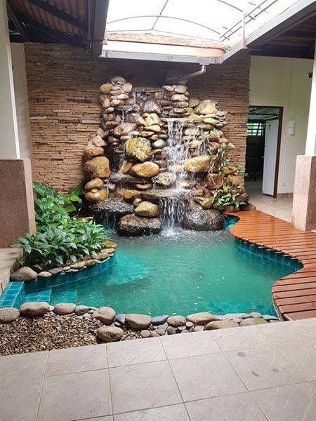 Indoor Plunge Pool With Waterfall Backyard Pool Landscaping
