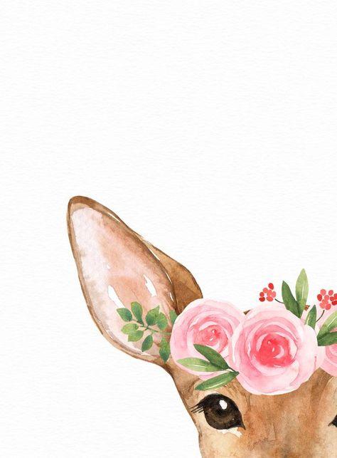 Woodland nursery decor - Baby girl nursery - Printable wall art - Woodland animals - Blush pink flow