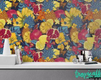 Tropical Fruit Wallpaper Removable Wallpapers Floral Bird Print Wallpaper Self Adhesive Wall Decal Removable Wallpaper Diy Diy Wallpaper Stick Wall Art