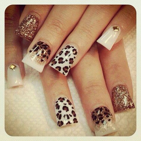White Gold Brown Animal Print Projects To Try Pinterest Uña