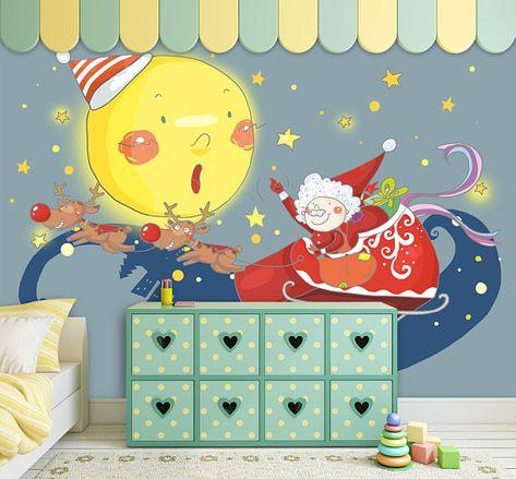 3d Cartoon Santa Claus And The Moon 141 Wallpaper Mural Wall Print