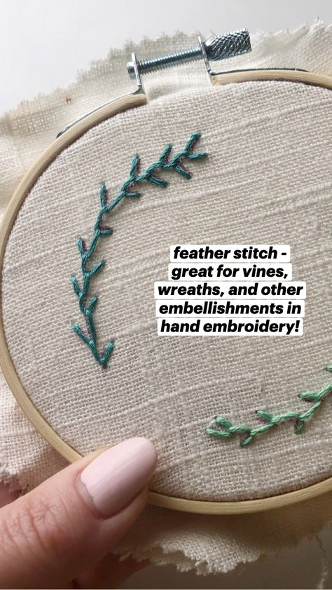 feather stitch - great for vines, wreaths, and other embellishments in hand embroidery!