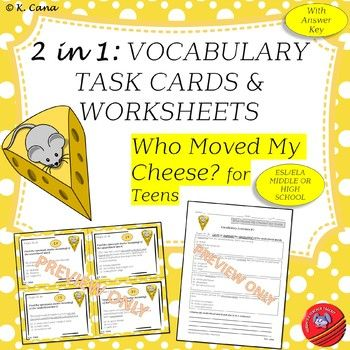 Vocabulary Task Cards Worksheets Compatible With Who Moved My Cheese For Teens Vocabulary Task Cards Online Teaching Resources Teacher Help Who moved my cheese worksheet