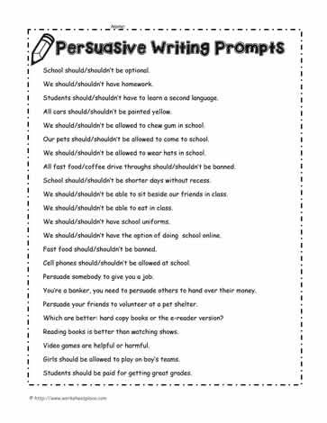 persuasive writing prompts for grade 6