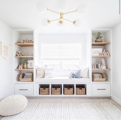 You don't want to miss this amazing transformation! From basic toy room to full built in reading nursery nook! Blue Playroom, Modern Playroom, Small Playroom, Toddler Playroom, Nursery Nook, Nursery Reading, Nursery Office, Living Room Decor, Bedroom Decor