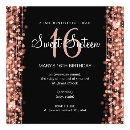 Sweet Sixteen Party Sparkles Rose Gold Black Invitation Zazzle Com Sweet Sixteen Parties Sweet 16 Birthday Party Sweet Sixteen