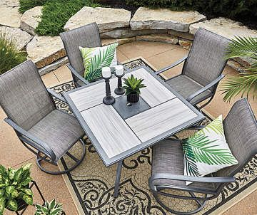 Wilson Fisher Hillcrest Stone Tile Top Square Outdoor Dining Table 40 Big Lots Patio Dining Set Outdoor Bistro Set Clearance Patio Furniture