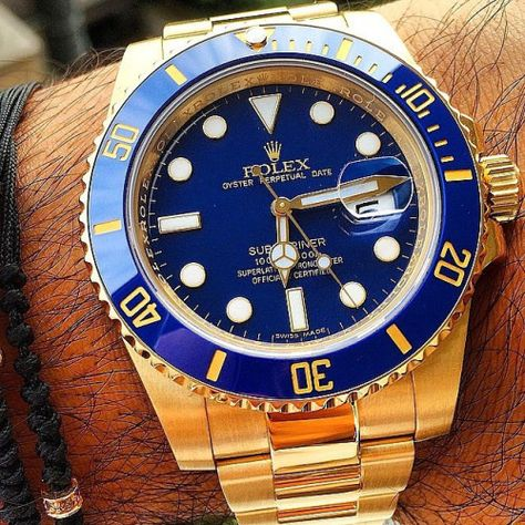"love-watches: ""Yellow gold Rolex Submariner on wrist 🙌"
