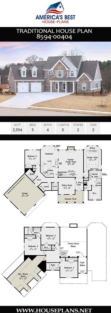 House Plan 8594 00404 Traditional Plan 2 594 Square Feet 5 Bedrooms 4 Bathrooms House Plans Farmhouse Traditional House Plan Craftsman House Plans
