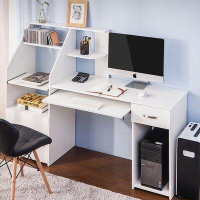 Latitude Run Mirrabooka Computer Desk Wayfair In 2020 Home Office Computer Desk Office Computer Desk Home Office Desks