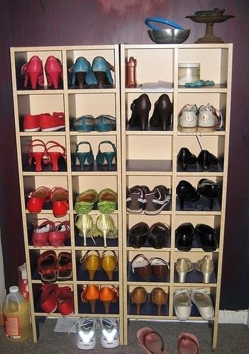 Use old CD racks for shoe storage.