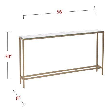 Derkkin Narrow Long Console Table W Mirrored Top Gold Walmart Com Narrow Console Table Mirrored Console Table Skinny Console Table