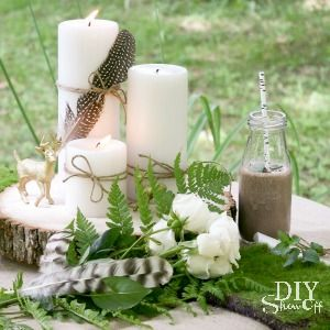 glam and rustic woodland table centerpiece at diyshowoff.com