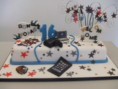 Black Blue 16th Birthday Cake Cakes Pinterest 16th birthday