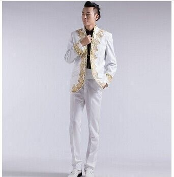 3PC White Gold Embroidery Men Suits Groom Tuxedos Wedding
