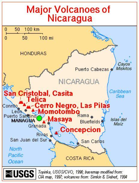 Map Of Major Volcanoes Of Nicaragua Volcanoes Pinterest - Map nicaragua