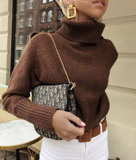 Cute brown sweater and Dior bag
