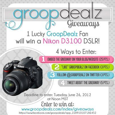 Photo: GIVEAWAY! Nikon D3100 DSLR! Share this post (not required) and we'll add ANOTHER entry!  { http://www.groopdealz.com/index/giveaways }