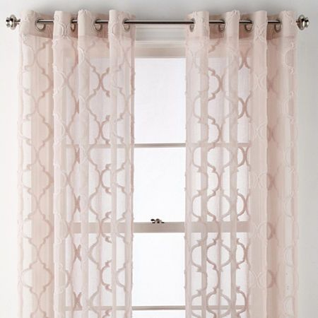 Jcpenney Home Zuri Clipped Sheer Grommet Top Curtain Panel Panel