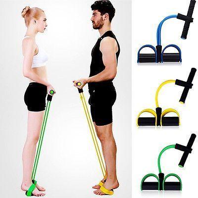 Hot Fitness Elastic Sit Up Pull Rope Abdominal Exerciser Equipment Sport 4-Tube