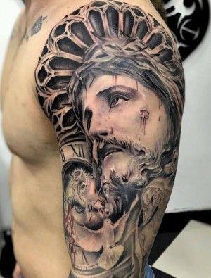 Tatuaje De Cristo En El Brazo Tatuaje De Cristo Tatuajes De Palmeras Tatuajes