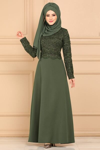 Modaselvim Elbise Sim Gupurlu Elbise Obn1030 Haki Baju Muslim Model Lebaran