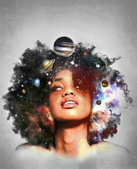 Art Girl Watercolor Cosmos Hair Art Music