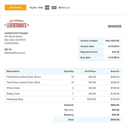 Free Invoice Template \ Online Invoicing - PayPal Costume - mock invoice template