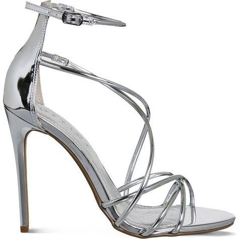 OFFICE Angel metallic heeled sandals ($83) ❤ liked on