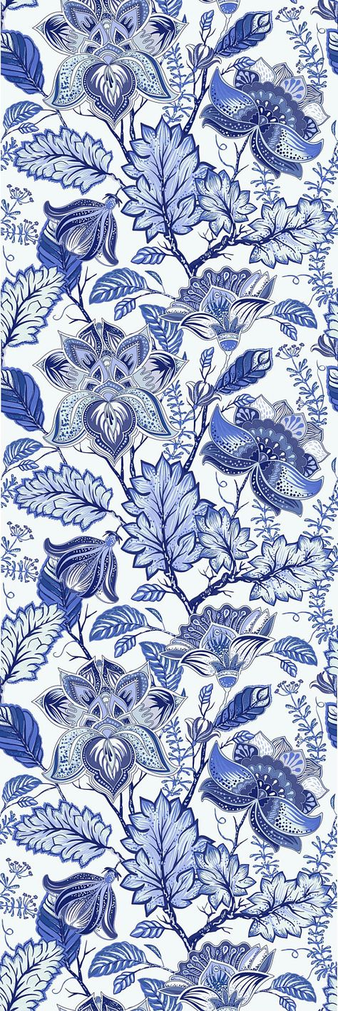 Peel-and-Stick Removable Wallpaper Chintz Floral Blue White Traditional Cobalt