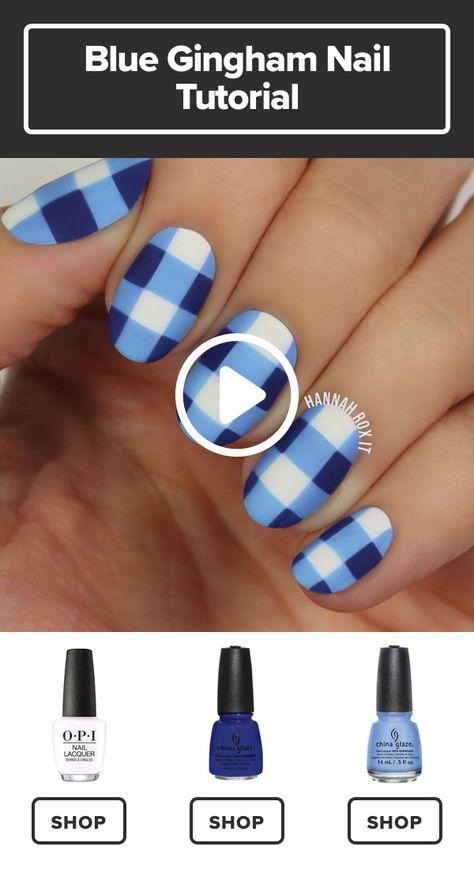 How to Get a Blue Gingham Nail Manicure #darbysmart #beauty #nailpolish #nailart #naildiy #naildesign #nailtutorial