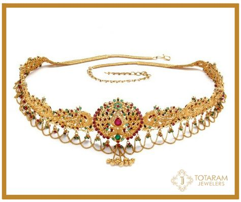 22K Gold 'PEACOCK' Vaddanam   Indian gold jewellery design