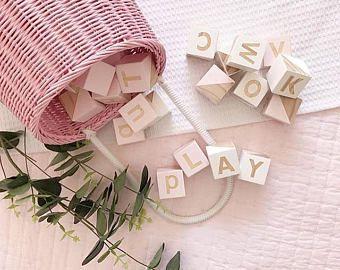 Wooden Baby Alphabet Blocks Wooden Toy Blocks Pastel Pink And