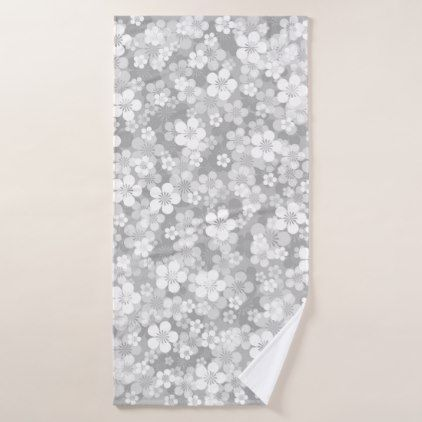 Gray Flower Pattern Bath Towel Zazzle Com Patterned Bath