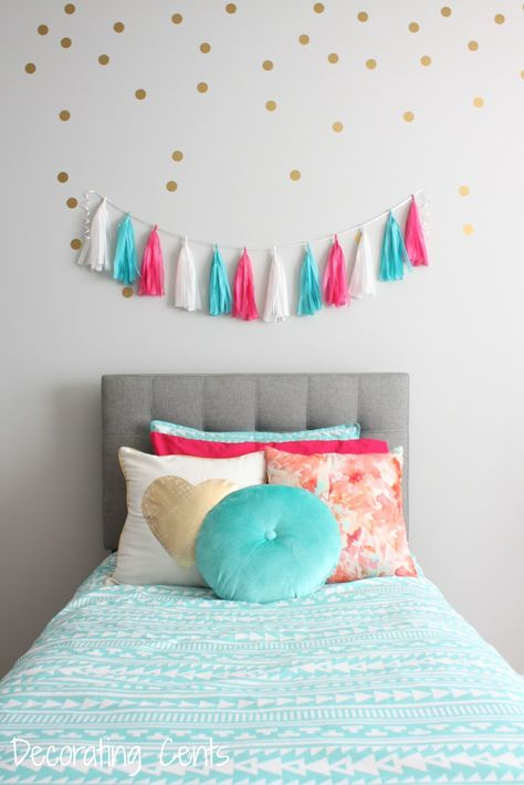 girls room - tufted headboard, gold polka dots, tassel garland